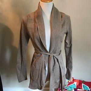 BCBGMAXAZRIA merino wool shawl collar wrap sweater